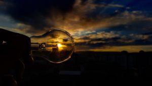 light bulb and sun - solar power
