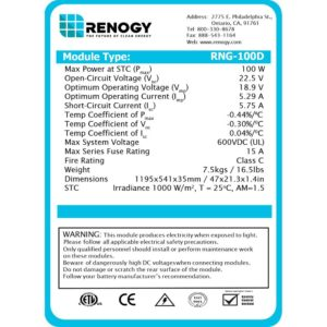 Solar Power Kit Specifications