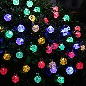 Solar Powered Christmas Lights: Globes (picture)