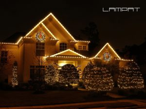 A house with solar powered Christmas lights