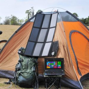 Allpower Solar Laptop Charger on Tent